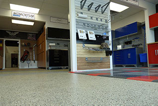 Concrete coatings & repair, garage storage, cabinets